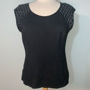 Ann Taylor dots and lace sleeveless top